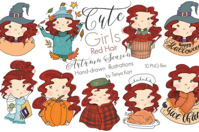 Red Hair Girl Thanksgiving Clipart