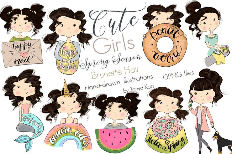 Spring Stickers Brunette Hair Girls