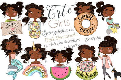 Cute Girls Spring Season Dark Skin Toned Clipart