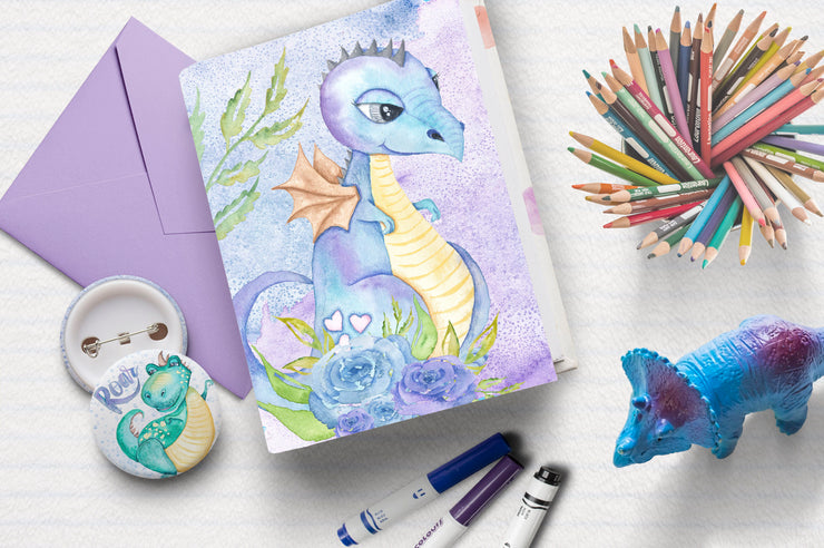 Hello Dinosaur Hand Painted Watercolor Collection