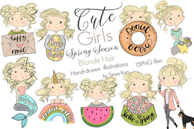 Spring Clipart Blonde Hair Girls