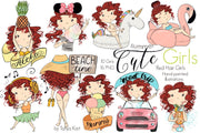 Summer Graphics Red Hair Girls