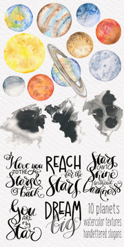Space Graphics Watercolor Clipart