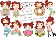 Cute Spring Season Red Hair Girls Illustration