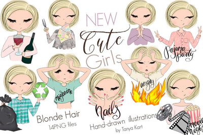 Blonde Hair Cute Girls Clipart