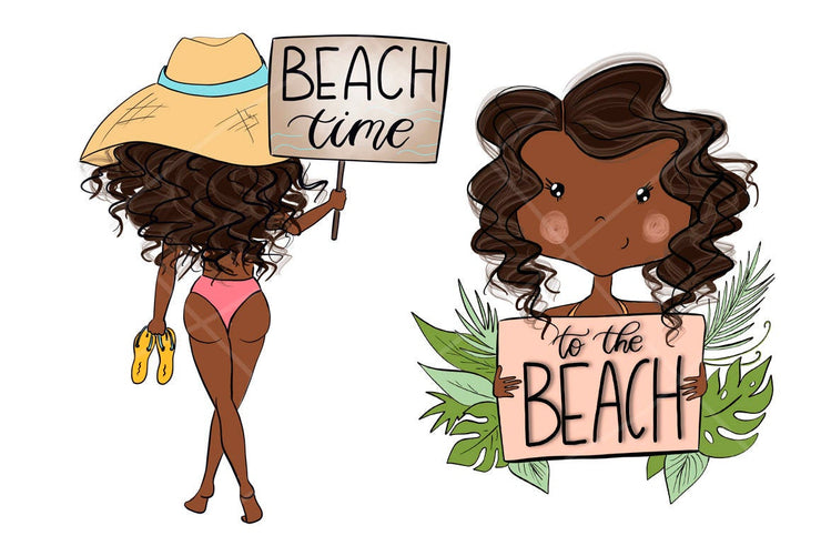 Summer Graphics African American Beach Girls