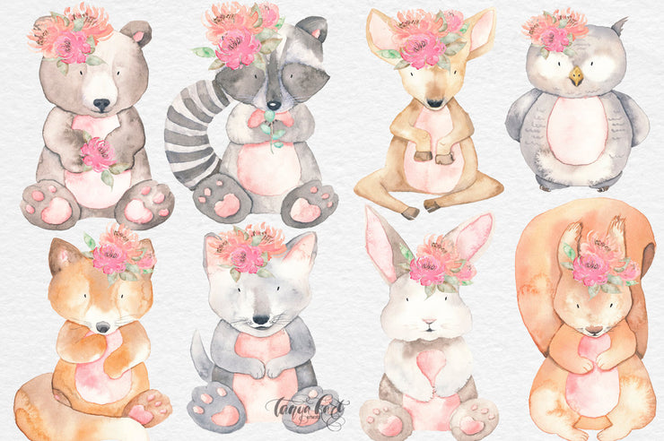 Watercolor Animal Clipart & Flowers