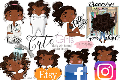 Planner Social Icons African American Girls