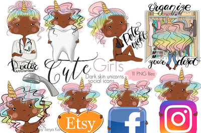 Unicorn African American Girls Social Icons