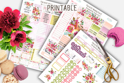 Floral Weekly Printable Kit Erin Condren Life Planner