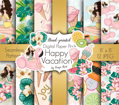 Happy Vacation Digital Paper
