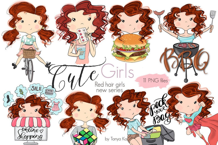Planner Stickers Red Hair Girls