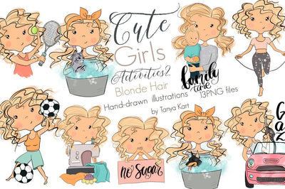 Girls Blonde Hair Planner Icons