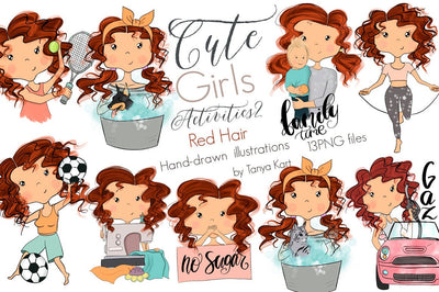 Planner Red Hair Girls Activities