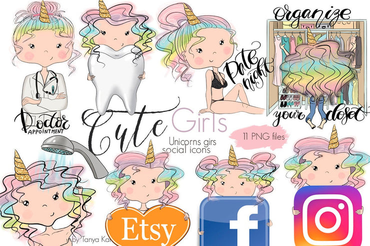 Unicorn Girls Social Icons
