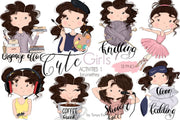 Brunette Hair Girls Planner Icons