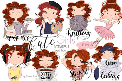 Red Hair Stickers Planner Icons