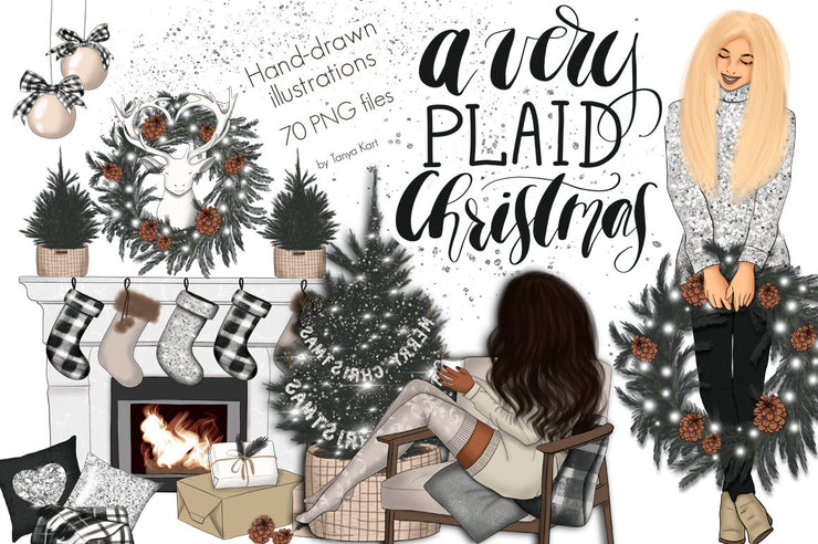 A Very Plaid Christmas Сlipart