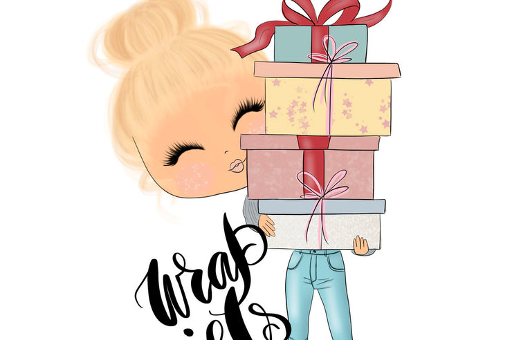 Planner Blondde Girl Christmas Clipart