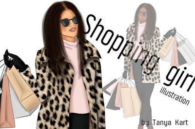 Shopping Girl Fashion Illustration