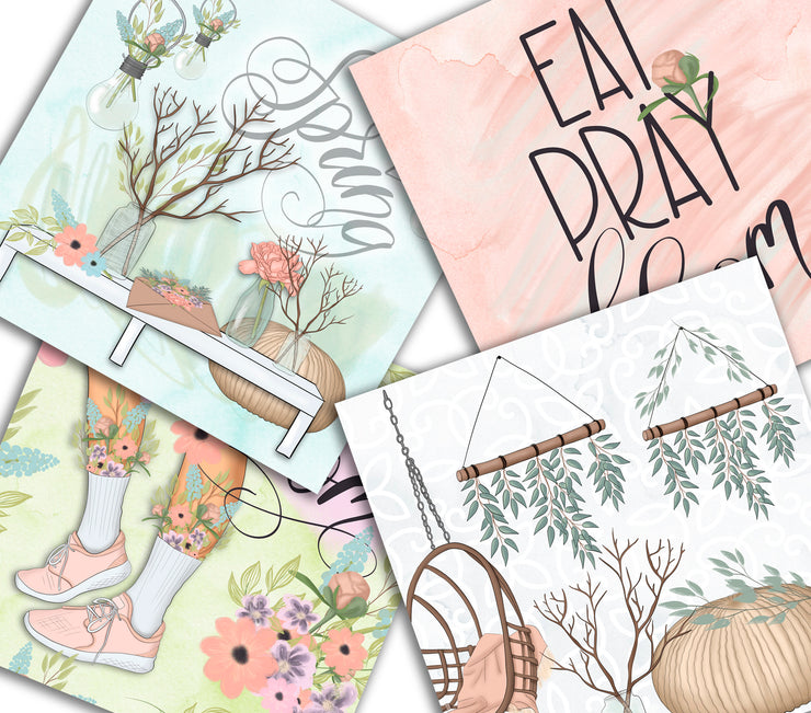 Eat Pray Bloom Digital Papers