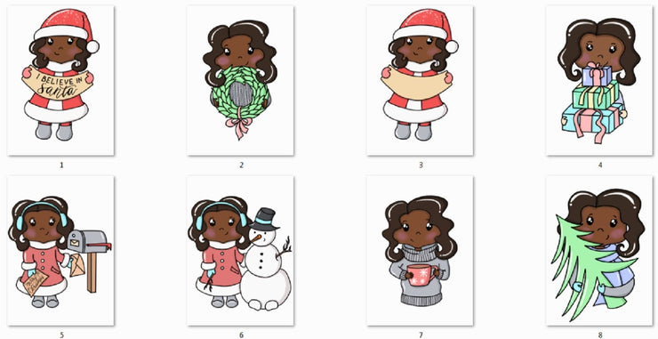 Cute Dark Skin Toned Girls Winter Season Clipart