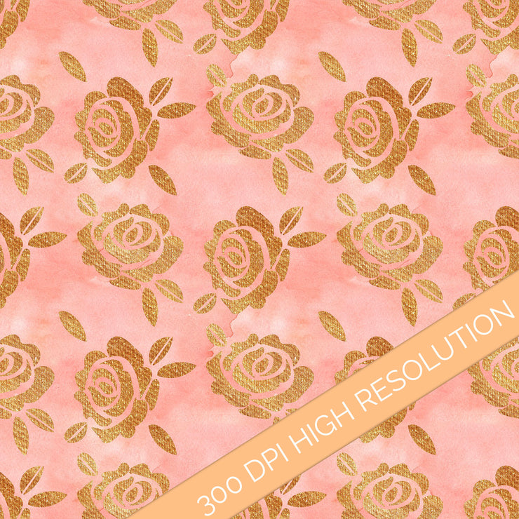 Watercolor Gold And Blush Digital Paper Pack