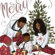 Family Christmas African American Clipart