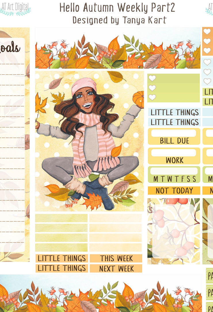 Autumn Planner Stickers, September Stickers, Erin Condren Stickers, Fall Weekly, Printable Stickers, Dark Skin Toned Autumn Kit