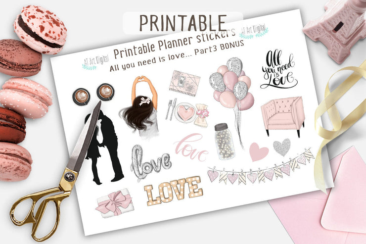 "Happy Planner Weekly Printable planner stickers ""All You Need Is Love"""