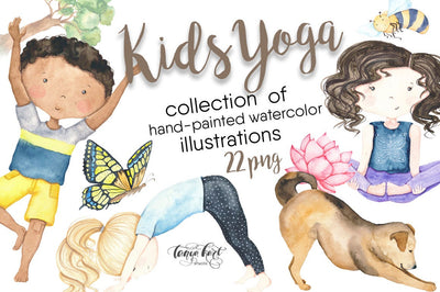 Watercolor Kids Yoga Clipart