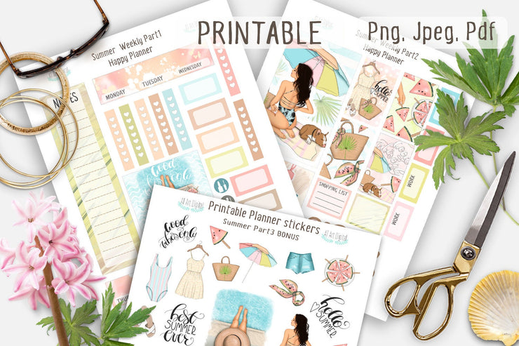 Summer Weekly Printable Stickers for the Happy Planner