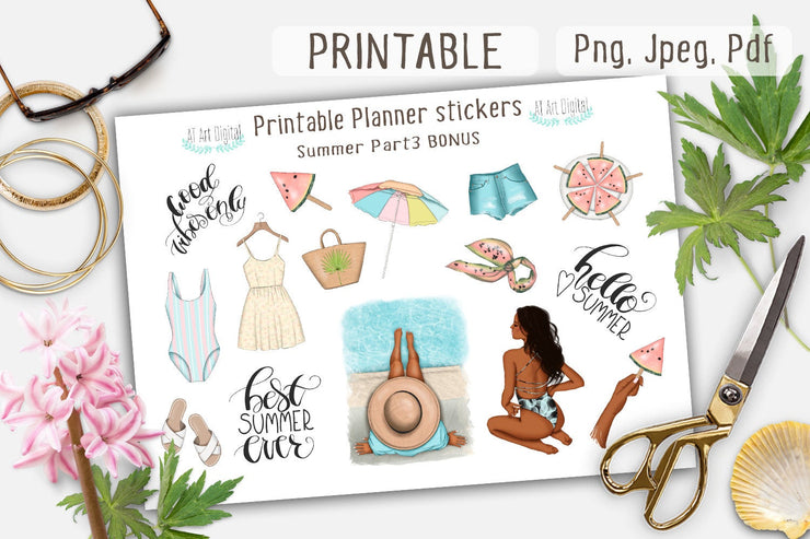Summer Printable Planner stickers for Happy Planner