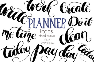 Hand Lettered Planner Icons