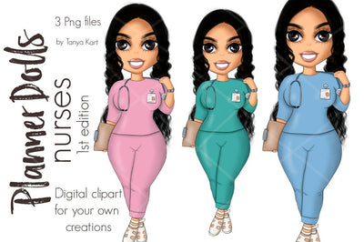 Nurse Brunette Planner Doll