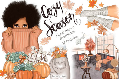 Cozy Season Autumn Hand-Drawn Clipart