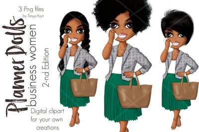 Girl Boss Planner Doll Clipart