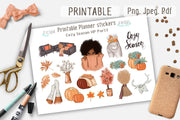 Cozy Season African American Printable Kit Happy Planner