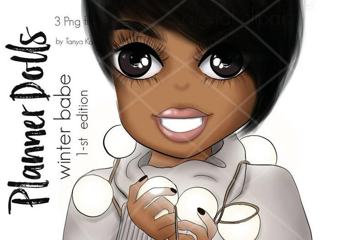 Planner Doll African American Winter Girl