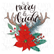 Merry And Bright Antler Sublimation