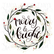 Merry And Bright Wreath Sublimation