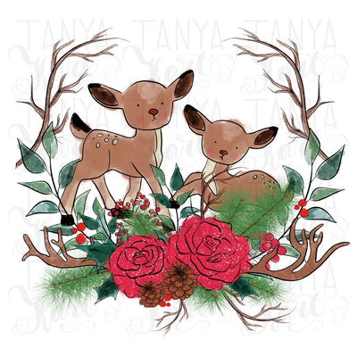 Deer Flowers Xmas Design Sublimation