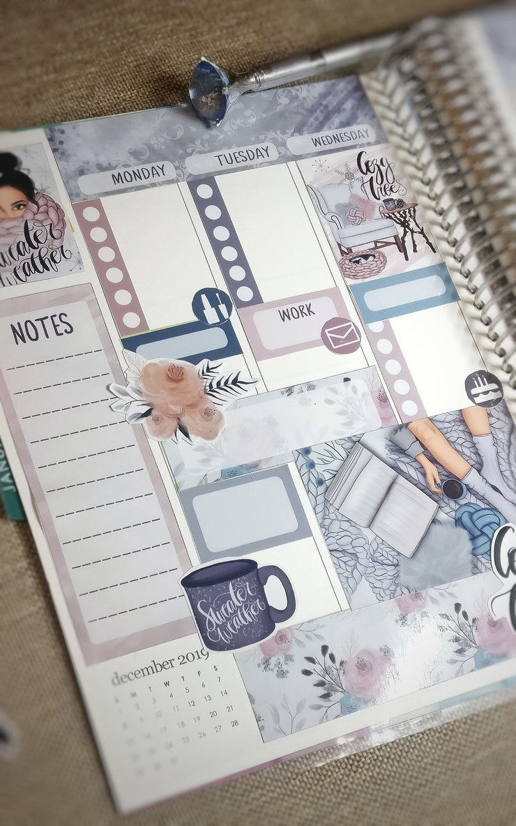 Winter Weekly Printable Planner Stickers for Erin Condren Life Planner