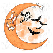 Moon Sublimation Design Happy Halloween