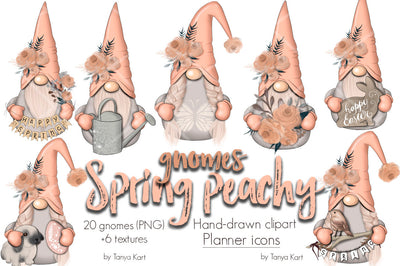 Spring Peachy Gnomes Clipart