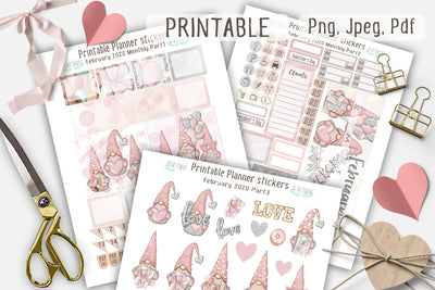 February Monthly Printable Planner Stickers