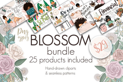 Blossom Bundle Clip Arts and Patterns