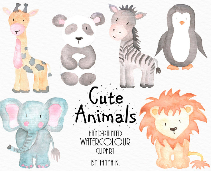 Cute Watercolor Animals Hand-Painted Clipart