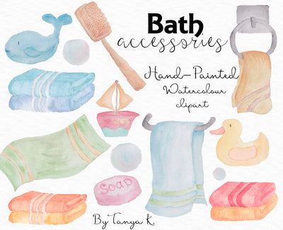 Bath Accessories Watercolor Clipart