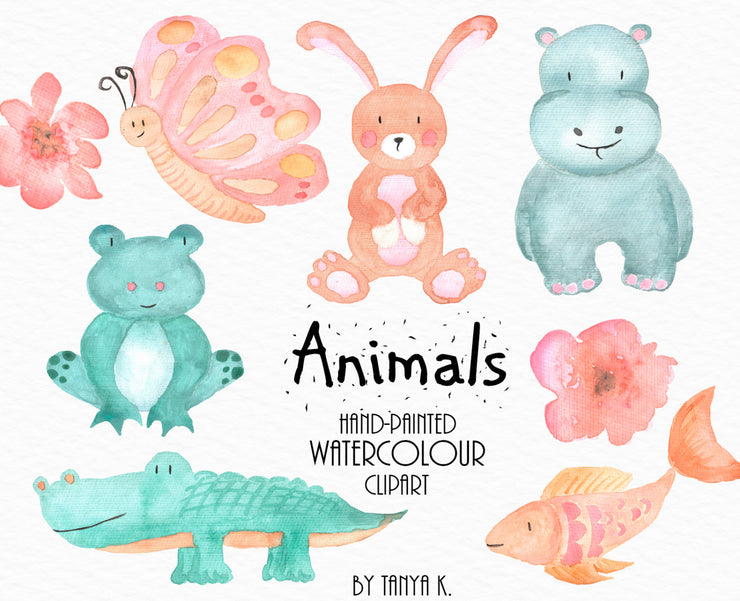 Watercolor Animals Illustration